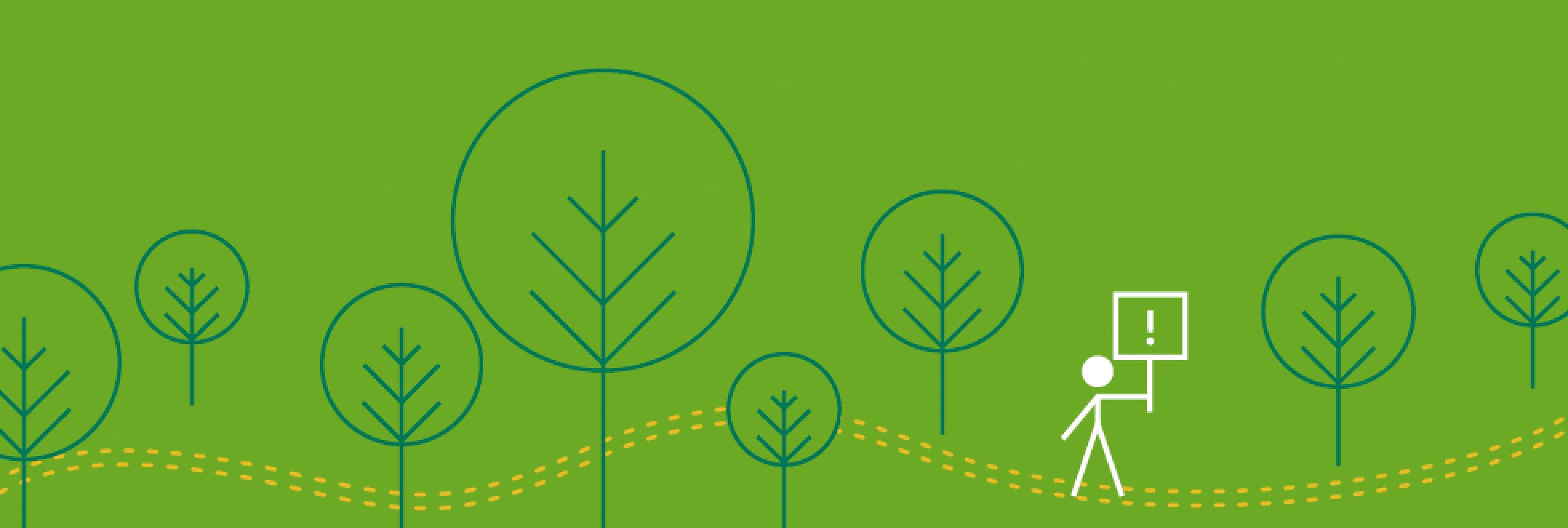 Headerbild mit stilisierten Bäumen und einem Strichmännchen, das ein Schild mit Ausrufezeichen trägt, auf grünem Hintergrund